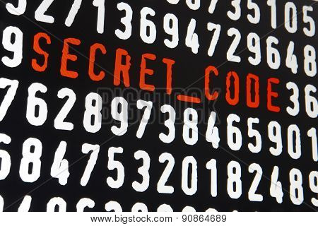Computer Screen With Secret Code Text On Black Background
