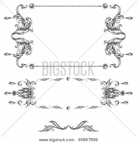 A Set Of Decorative Frames And Design Elements, Floral Ornaments