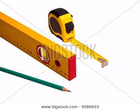 Measuring Tape, Pencil And Level