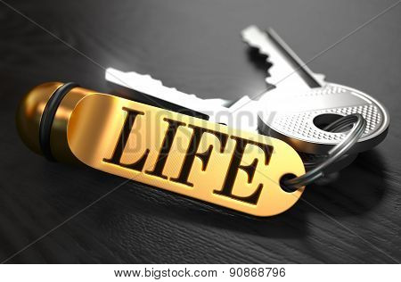 Life written on Golden Keyring.