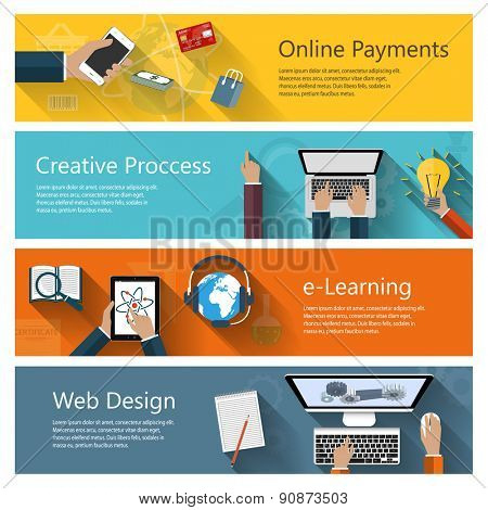 Modern concepts collection in flat design for e-business, web sites, mobile applications, distance learning, online payments, banners etc. Raster illustration