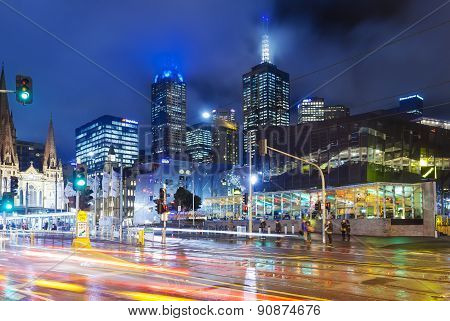 Modern buildings and busy traffic in downtown Melbourne