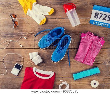 Running shoes on wooden floor