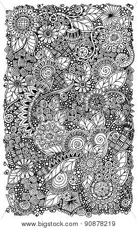 Ethnic floral retro zentangle doodle background pattern circle in vector.
