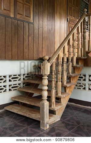 Wood Staircase, Banister Carving Wooden Thai Style
