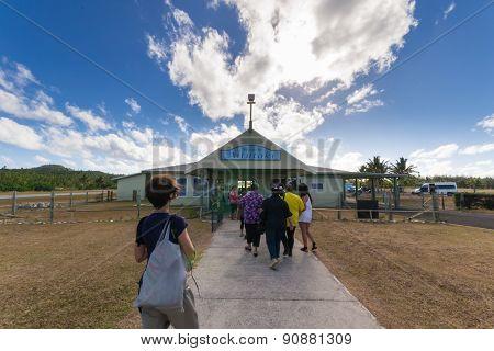 Travelers Arriving At Aitutaki Airport