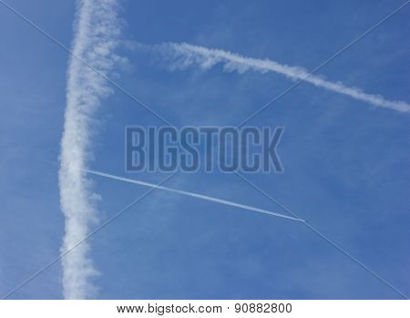 contrails at blue sky