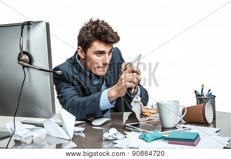 Concentrated Man With Slingshot Aim / Modern Office Man At Working Place, Sloth And Laziness Concept