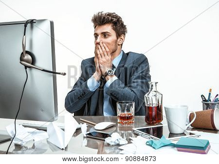 Businessman Was Horrified To Look At The Computer Screen  / Modern Office Man At Working Place, Depr