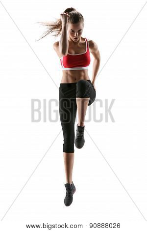 Fitness Woman Aerobics. Fresh Energetic Female Fitness Instructor Doing Aerobics. Beautiful White Ca