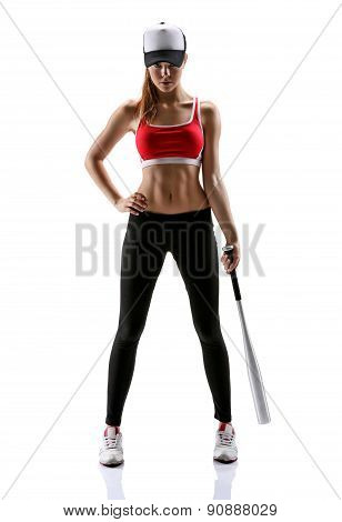 Baseball Girl Training / Photo Set Of Sporty Muscular Female Brunette Girl Wearing Sports Clothes Ov
