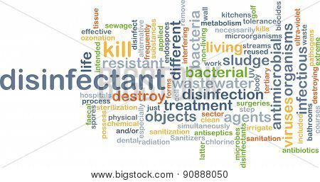 Background concept wordcloud illustration of disinfectant poster