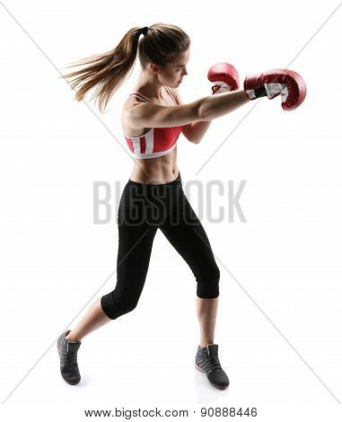 Boxer Girl During Boxing Exercise Making Direct Hit With Red Glove / Photo Set Of Sporty Muscular Fe