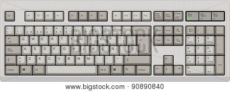 Spanish Qwerty Sp Layout Keyboard. Grey
