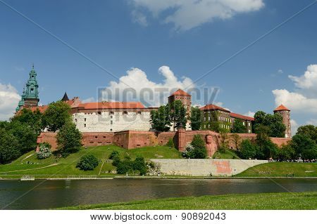 View on castle complex Wawel in Cracow Poland poster