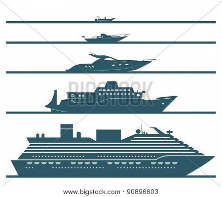 Flat icons of boats ranked by size. Set of different types of boats in flat design style. Vector illustration.