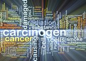 Background concept wordcloud illustration of carcinogen glowing light poster