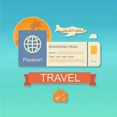 Vector modern flat design web icon on airline tickets and travel with jet airliner flying, passport, boarding pass ticket  and travelling bag poster