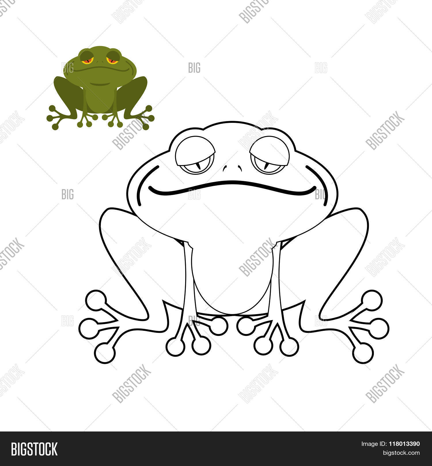 Frog Coloring Book. Vector & Photo (Free Trial)   Bigstock