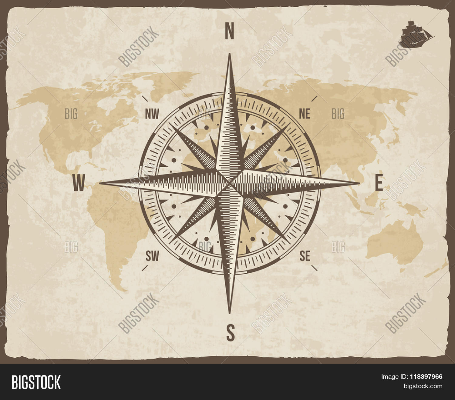 Vintage nautical vector photo free trial bigstock vintage nautical compass old world map on vector paper texture with torn border frame gumiabroncs Choice Image
