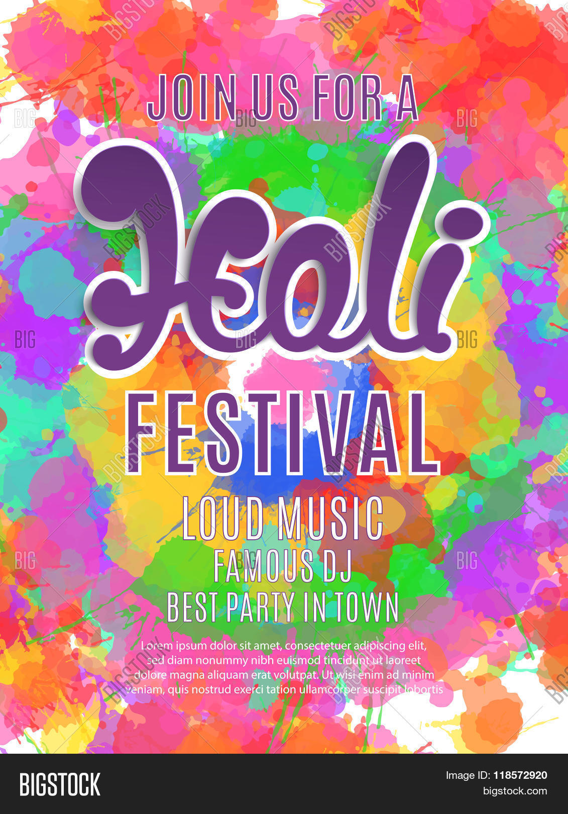 Holi Festival Poster Vector Photo Free Trial Bigstock