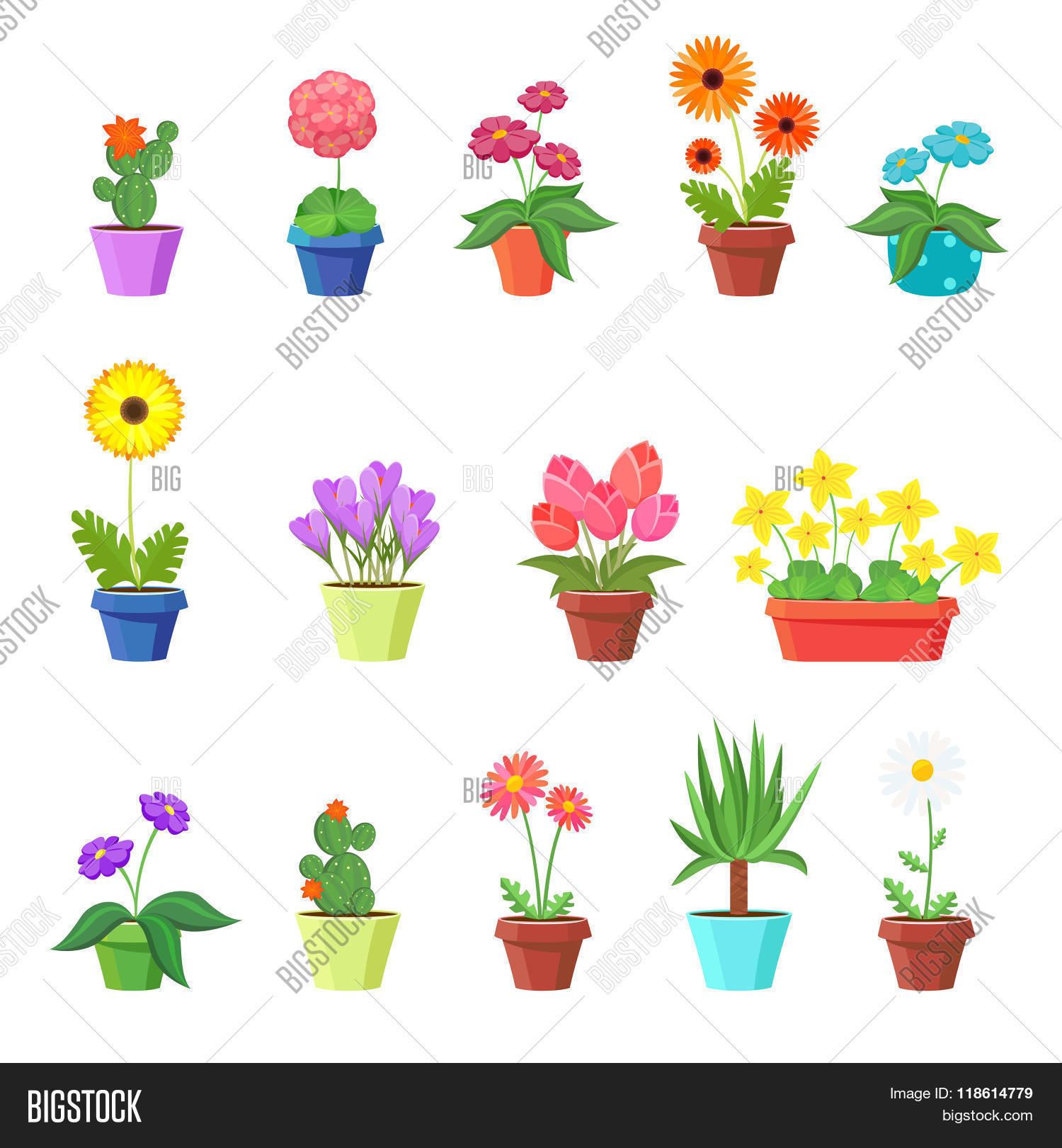 Cute Spring Flowers Vector Photo Free Trial Bigstock