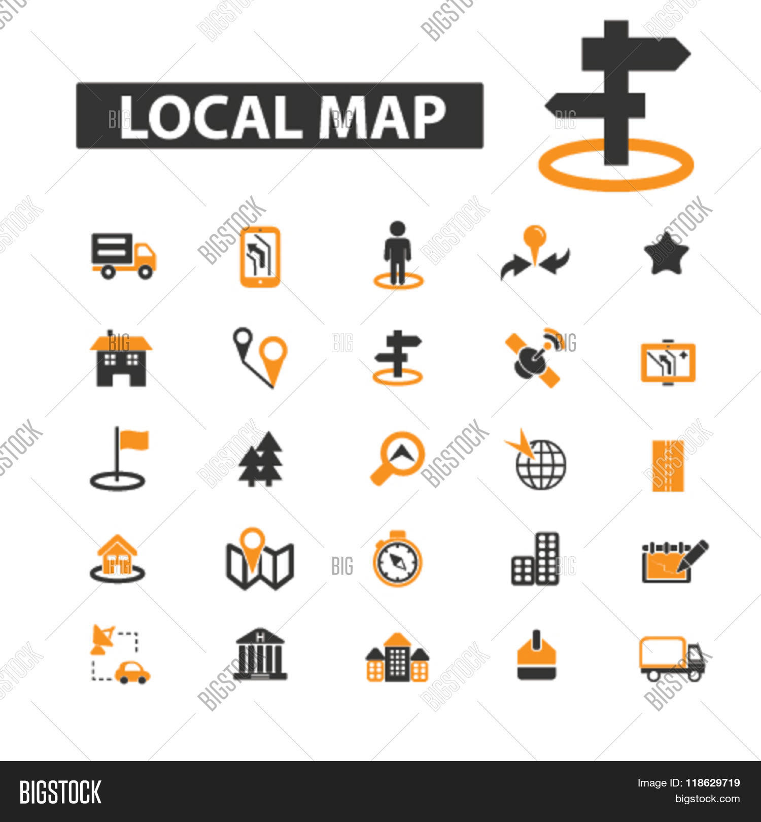 Local Map Icons Vector Photo Free Trial Bigstock