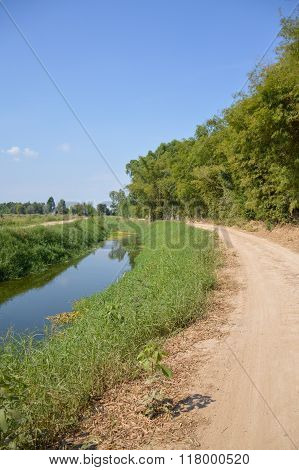 dirt road in nature country Nakhon Nayok Thailand