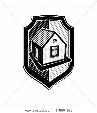 Property Protection Idea, Stylized Vector Heraldic Symbol With Classic House. Real Estate Agency Bra