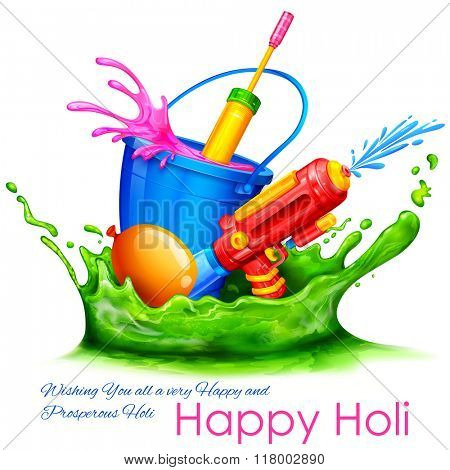 illustration of splash with color bucket and watergun in Holi background