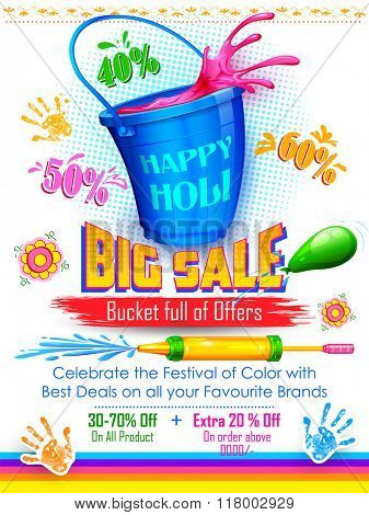 illustration of colorful splash coming out from bucket and pichkari in Holi promotional background