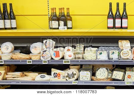 BEGLES, FRANCE - AUGUST 13, 2015: interior of Simply Market supermarket. Simply Market is a brand of French supermarkets. This brand is a new concept to eventually replace Atac supermarkets