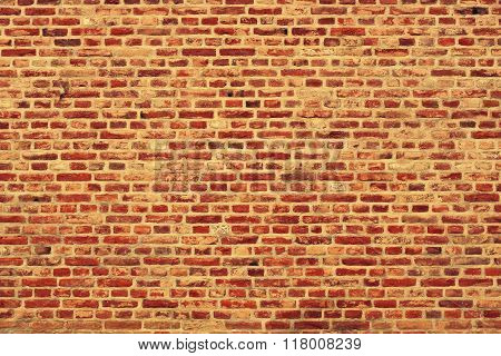 Brick Wall Horizontal Background With Red, Orange And Brown Bricks - Orange Version