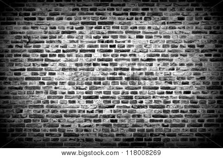Brick Wall Horizontal Background With Bricks - Black And White