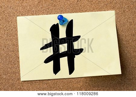 Hashmark # - Adhesive Label Pinned On Bulletin Board