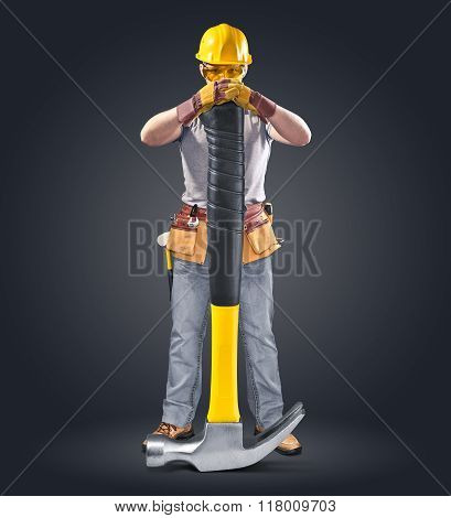 poster of construction worker in helmet with tool and hammer