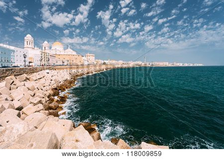 Ancient Cadiz city in southern Spain. Cadiz Cathedral and old to