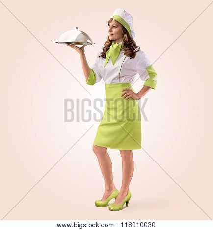 cook girl with restaurant cloche or food tray