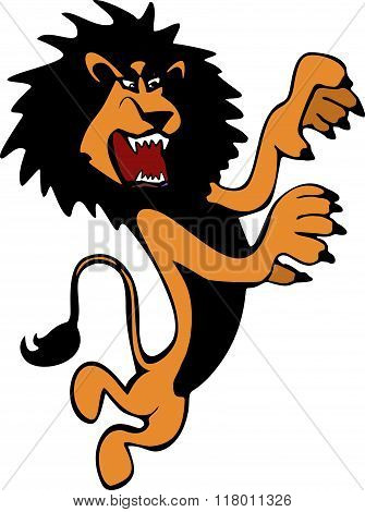 Harsh And Angry Hand-drawn Brown Lion In Full Height Standing On Its Hind Legs In The Vector