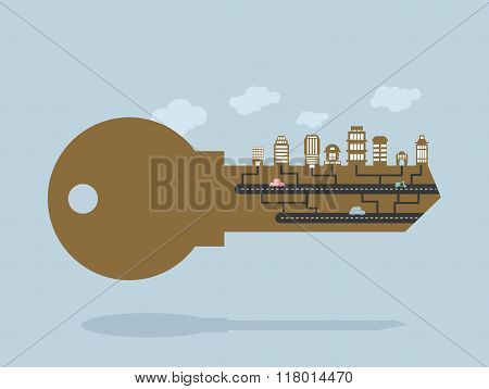 Key And Buildings. Key To City. Door Lock Key With Office Buildings And Buildings. Citys Infrastruct