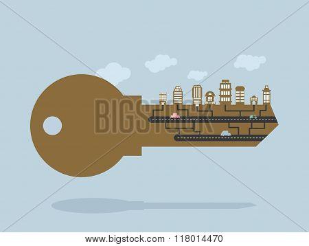 Key And Buildings. Key To City. Door Lock Key With Office Buildings And Buildings. Citys Infrastruct