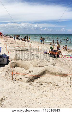Sand Sculptures On The Beach