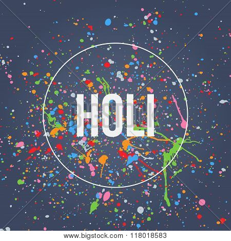 Holi Banner with Splashes of Paint