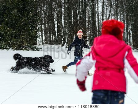 Two sisters playing in snow with newfoundlander dog winter and leisure poster