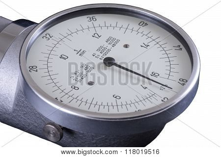 Tachometer old RPM counter showing zero isolated in white poster