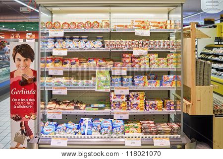 BEGLES, FRANCE - AUGUST 13, 2015: interior of Simply Market. Simply Market is a brand of French supermarkets formed in 2005. This brand is a new concept to eventually replace Atac supermarkets