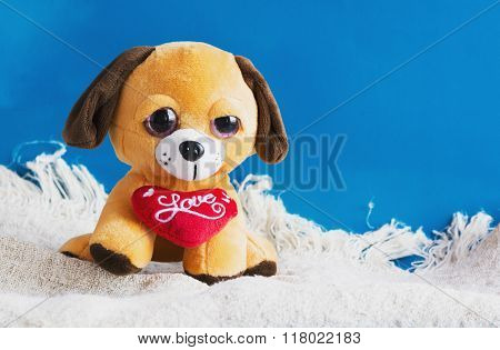 Plush Toy Dog With Red Heart