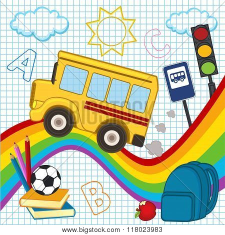 school bus travels over the rainbow