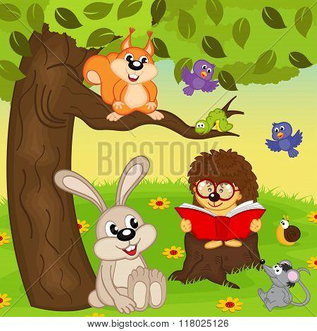 hedgehog reading book for animals