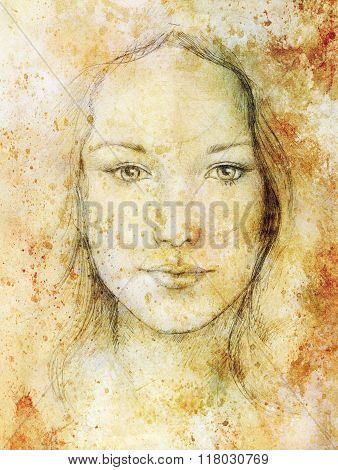 Drawing portrait Young woman with ornament on face, vintage paper structure and sepia color. Eye con